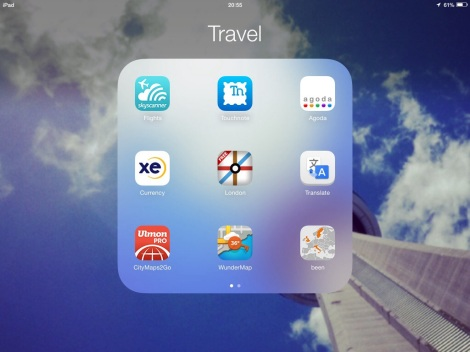 A selection of various apps I'l use while traveling - some more than others