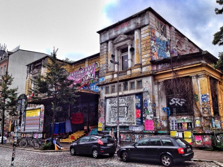 Rote Flora's heavily graffiti'd exterior.